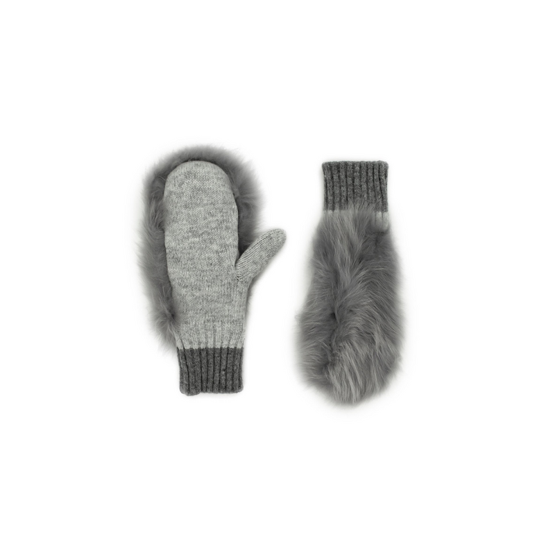 MITTENS WITH FOX FUR - GREY