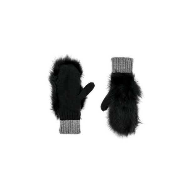 MITTENS WITH FOX FUR - BLACK