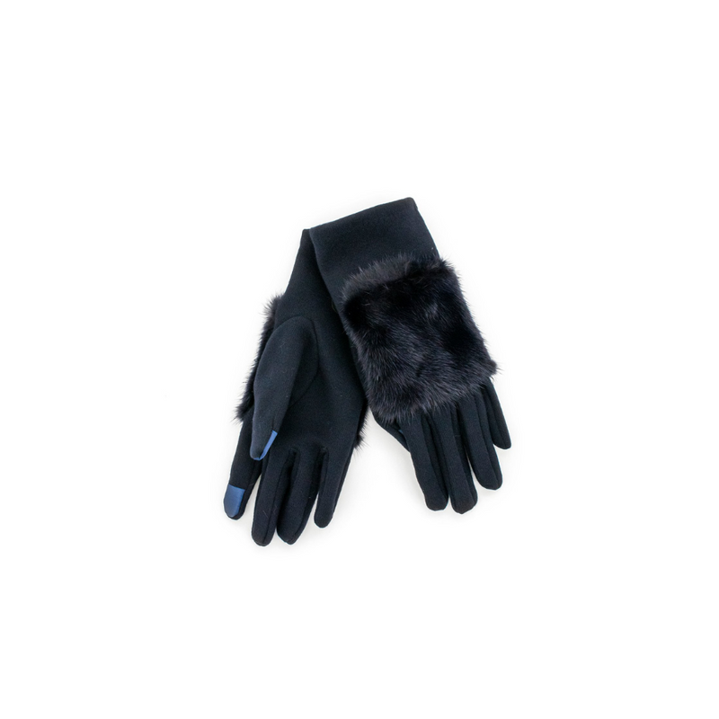 GLOVES WITH MINK FUR TRIM - NAVY