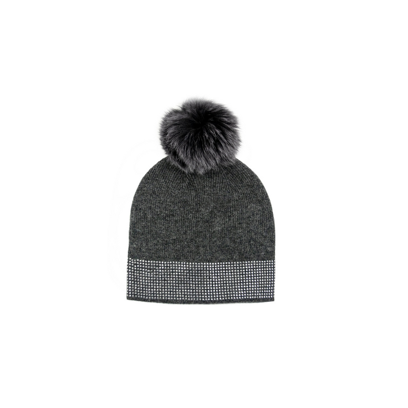 KNITTED TOQUE WITH STUDS - GREY