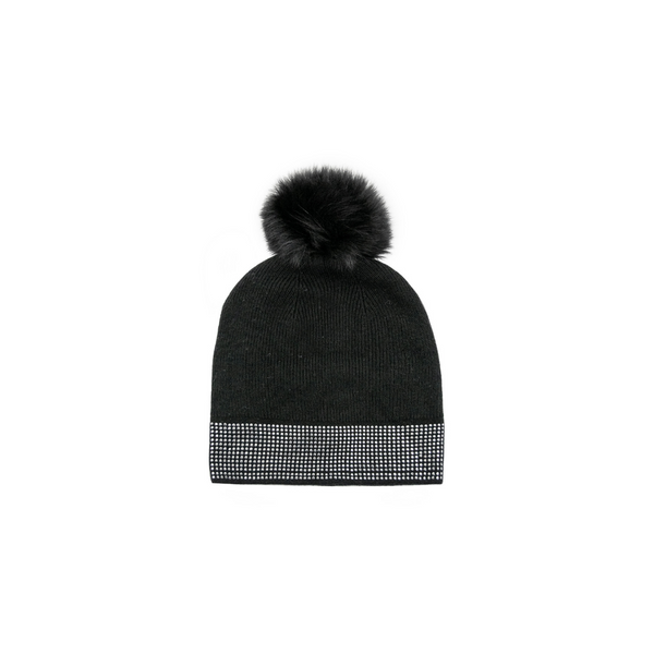 KNITTED TOQUE WITH STUDS - BLACK