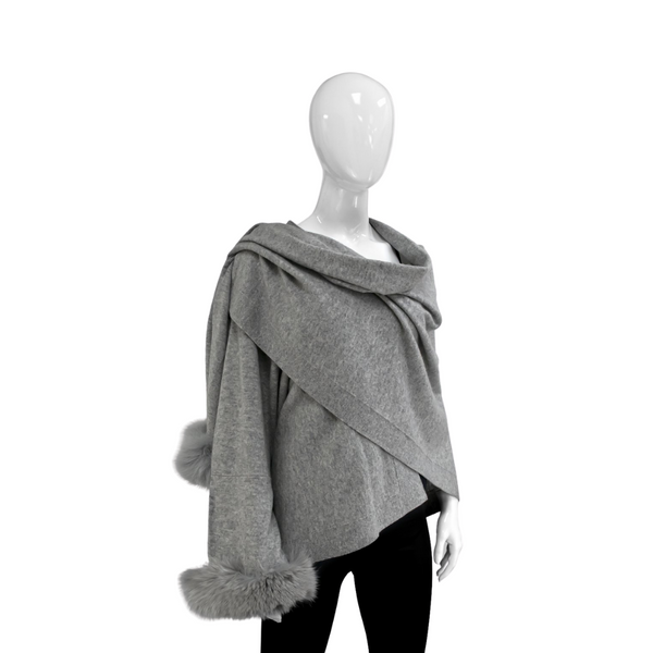 KNITTED WRAP - GREY