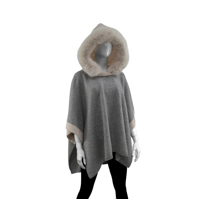 KNITTED PONCHO - GREY/IVORY