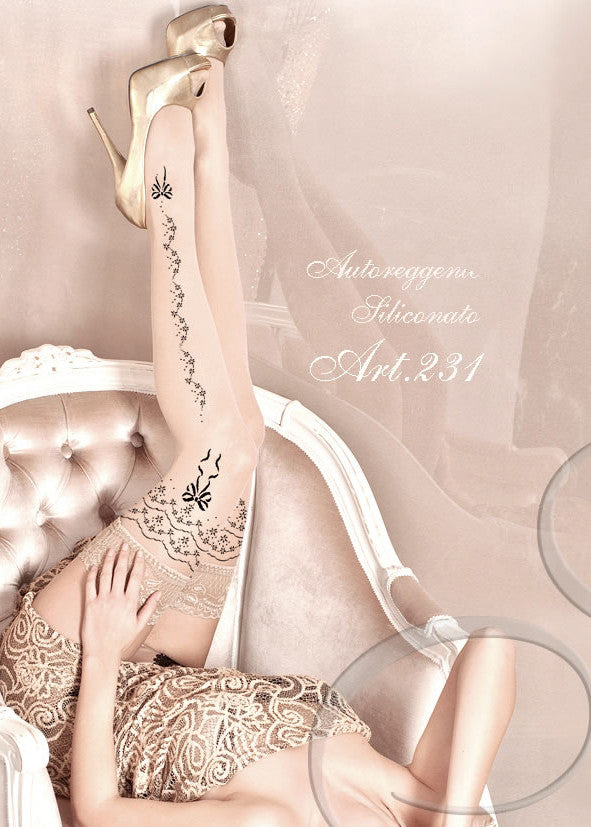 Ballerina Embroidered Hold Ups 231