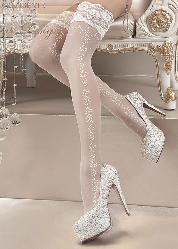 Ballerina Embroidered Hold Ups 119