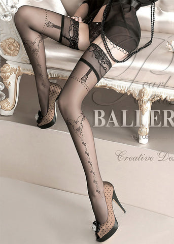 Ballerina Embroidered Hold Ups 127