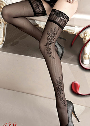 Ballerina Embroidered Hold Ups 129