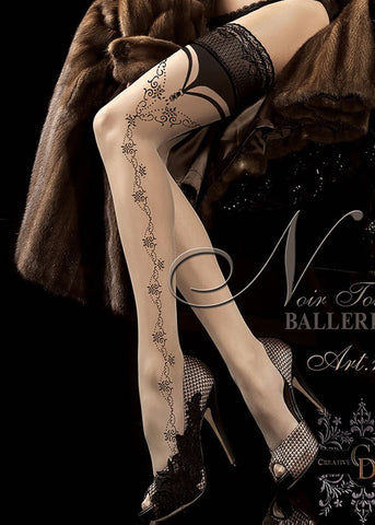 Ballerina Embroidered Hold Ups 174