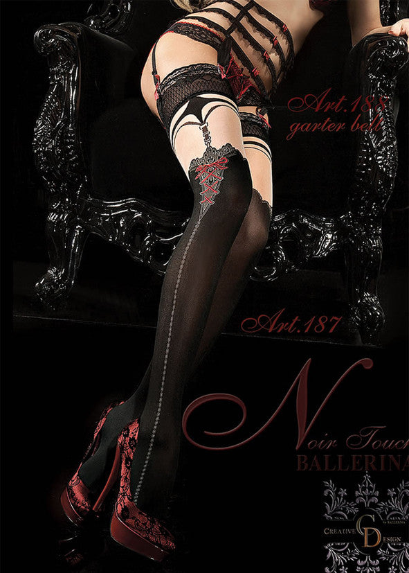Ballerina Embroidered Hold Ups 187