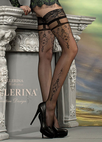 Ballerina Embroidered Hold Ups 212