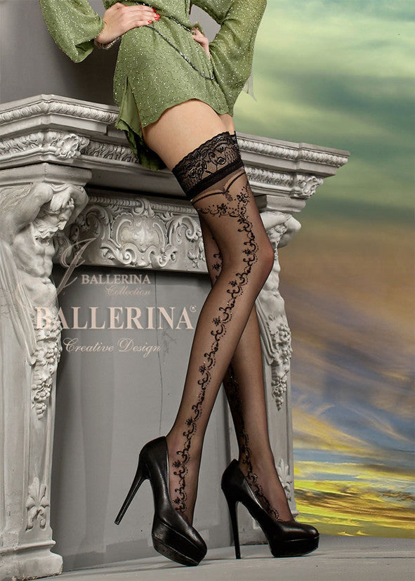 Ballerina Embroidered Hold Ups 216