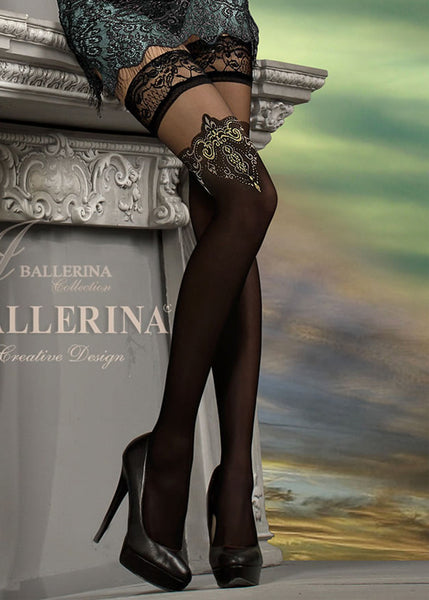 d6ed3b727205e Ballerina Embroidered Hold Ups 221 - Free UK Delivery – Stockings and  Holdups