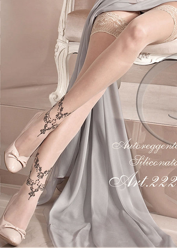 Ballerina Embroidered Hold Ups 222