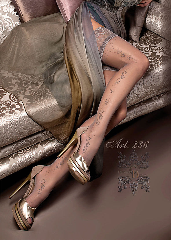 Ballerina Embroidered Hold Ups 236
