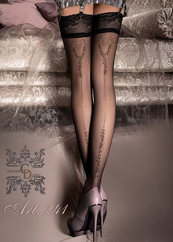 Ballerina Embroidered Hold Ups 241