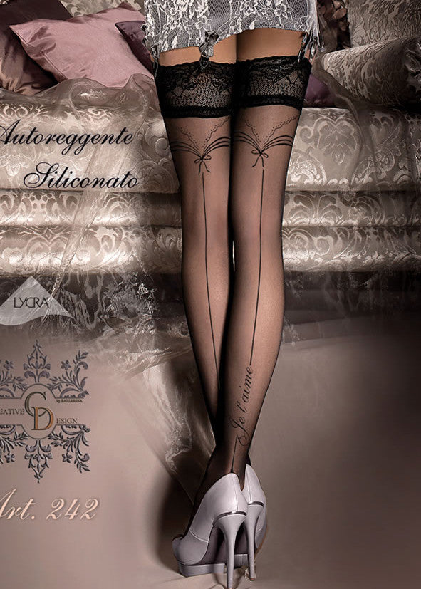 Ballerina Embroidered Hold Ups 242