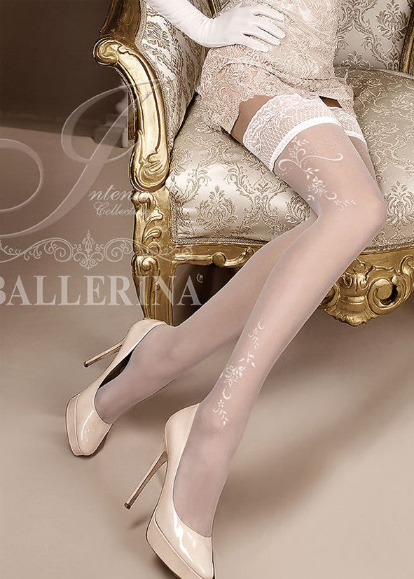 Ballerina Embroidered Hold Ups 256