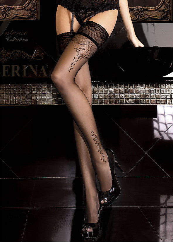 Ballerina Embroidered Hold Ups 262