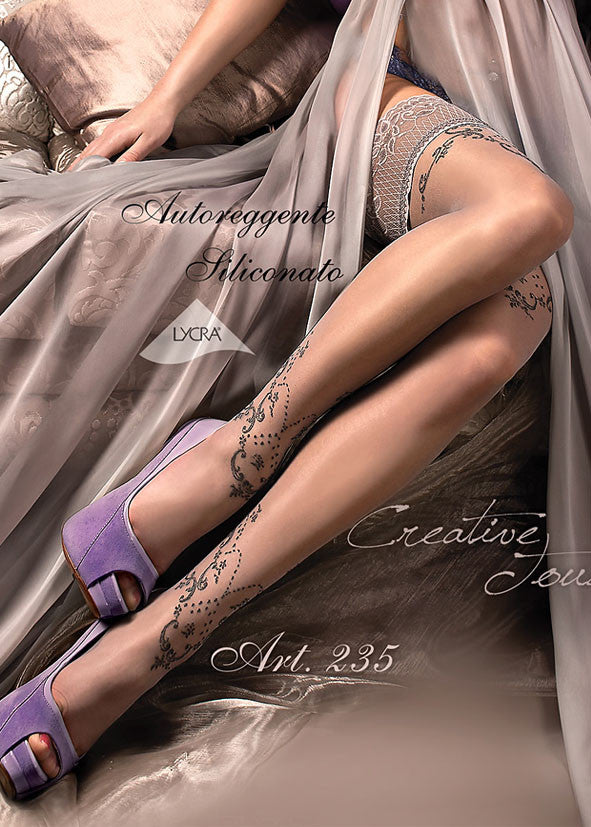 Ballerina Embroidered Hold Ups 235