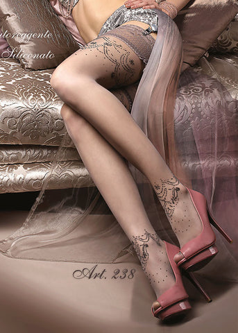 Ballerina Embroidered Hold Ups 238