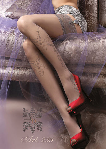 Ballerina Embroidered Hold Ups 239