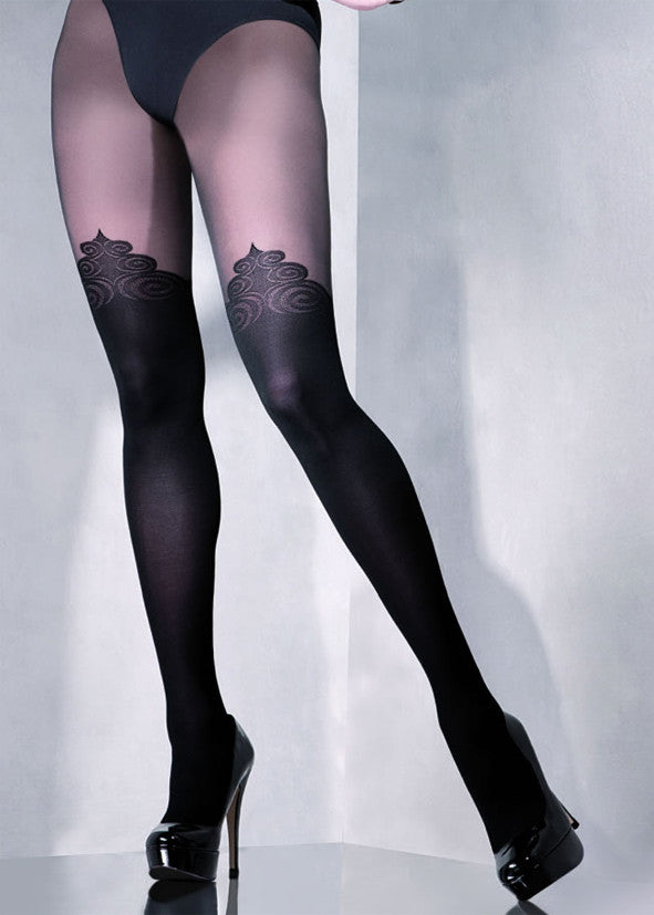 Exclusive semi-opaque patterned over the knee, 40 Denier tights manufactured from Lycra fibres doubled braided with polyamide. Cotton gusset and sewn with a flat seam.