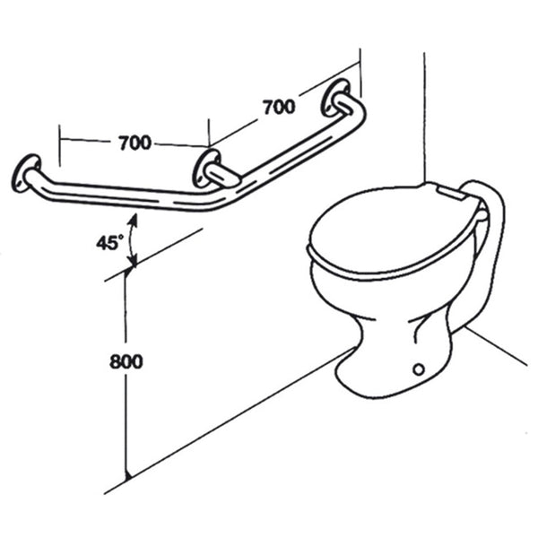 Toilet Rail - Type 06 - Concealed Flanges