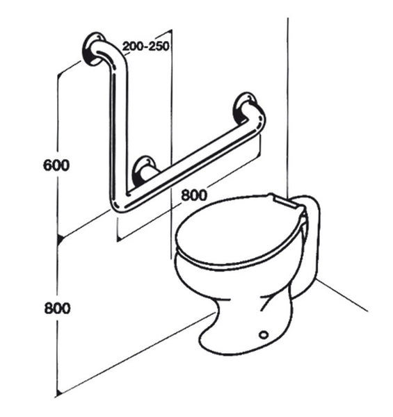 Toilet Rail - Type 03 - Concealed Flanges