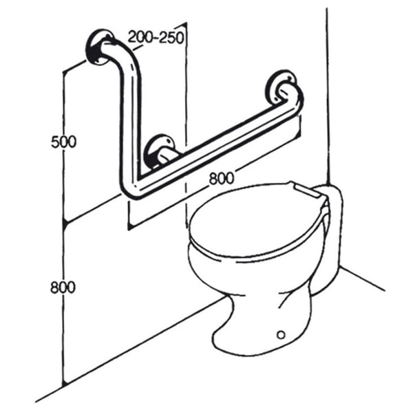 Toilet Rail - Type 02 - Concealed Flanges