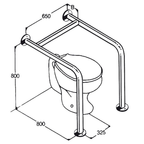 Toilet Rail - Type 010 - Concealed Flanges