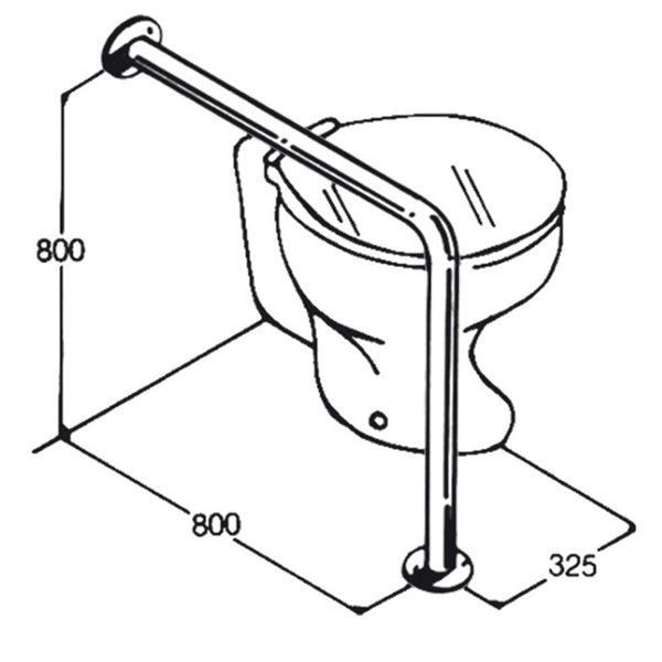 Toilet Rail - Type 08 - Concealed Flanges