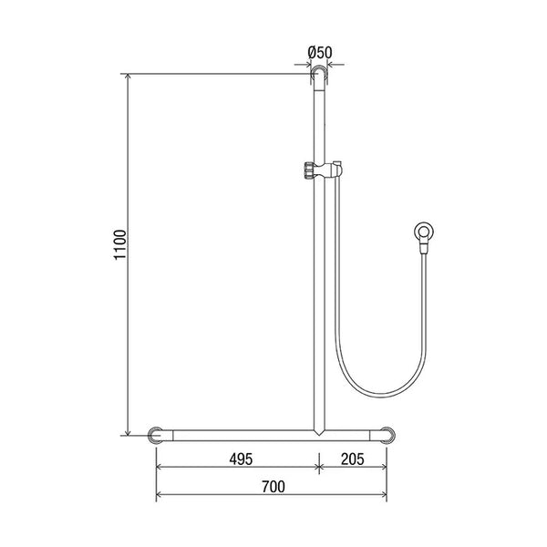 Home Care Hosfab/Breeze Shower System with 700mm x 1100mm Grab Rail