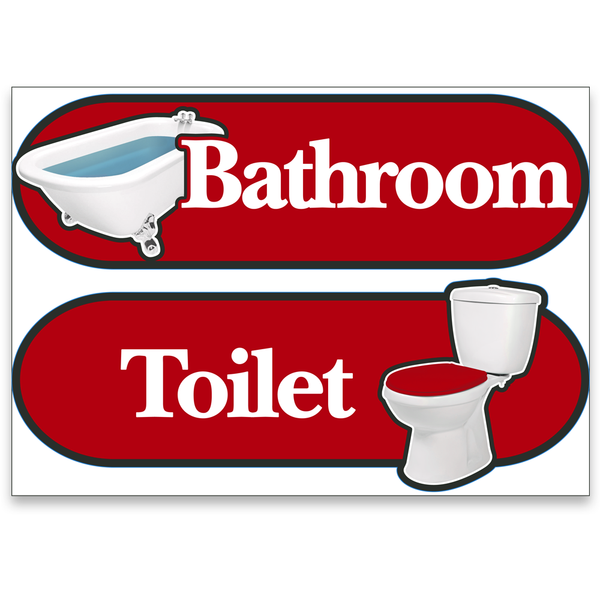 BetterLiving Orientation Signage Kit Toilet and Bathroom Red