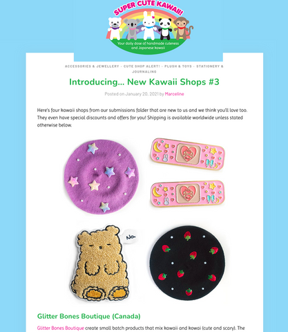 super cute kawaii featuring hats pins and patches by glitter bones boutique