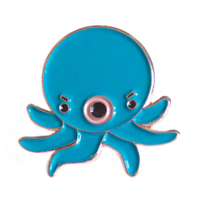 Load image into Gallery viewer, Angry blue Octopus Takoyaki Pin - Glitter Bones Boutique