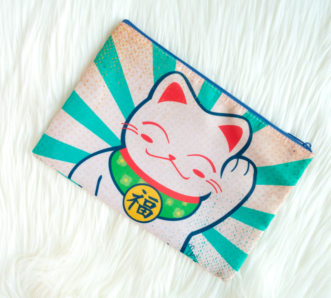 Lucky Cat Zippered Pouch - Glitter Bones Boutique