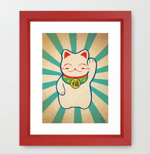 Load image into Gallery viewer, Lucky Cat Art Print - Glitter Bones Boutique