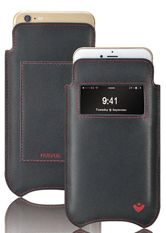 NueVue iPhone 11/iPhone XR Wallet Case Napa Leather | Black | Sanitizing Screen Cleaning Case
