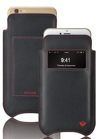 iPhone 8 / 7 Wallet Sleeve with Window Case in Black Leather with 'Screen Cleaning' and Sanitizing Microfiber Lining