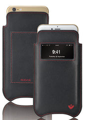 iPhone 8 Plus / 7 Plus Pouch Wallet Case Black Genuine Leather 'Screen Cleaning' Microfiber Lining - window