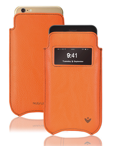 iPhone SE-2020 Pouch Case in Orange Faux Leather | Screen Cleaning and Sanitizing Lining |  Smart Window