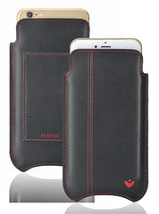 iPhone 6/6s Plus Pouch Wallet Case in Black w/red Stitch Leather | Screen Cleaning Sanitizing Lining.