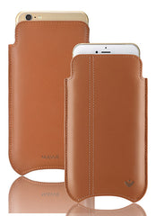 iPhone 6/6s Plus Pouch Case Tan Leather Screen Cleaning with antimicrobial lining.