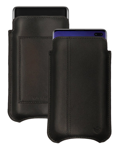 Samsung Galaxy S10+ Pirate Black Leather Wallet Screen Cleaning Case | NueVue