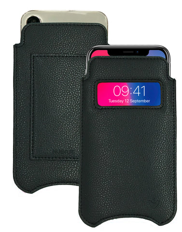 NueVue iPhone X faux leather wallet window case Black