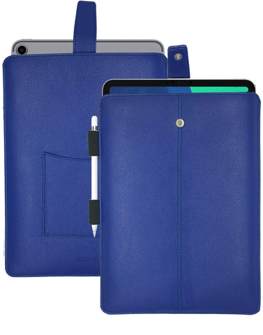 iPad Pro Sleeve Case in French Blue Faux Leather | Screen Cleaning and Sanitizing Lining.