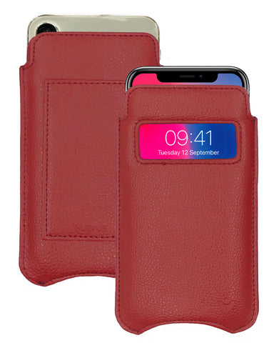 NueVue iPhone X faux leather window wallet case Red