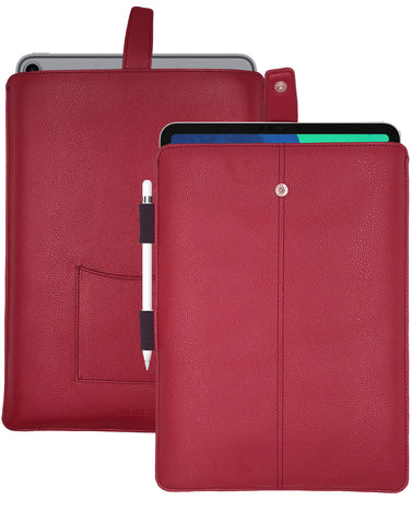 iPad Pro Sleeve Case in Rose Red Faux Leather | Screen Cleaning and Sanitizing Lining.