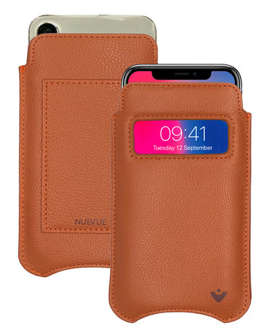 iPhone 11 Pro and iPhone X/Xs Wallet Case | Screen Cleaning and Sanitizing Lining | Faux Vegan Leather | Smart Window
