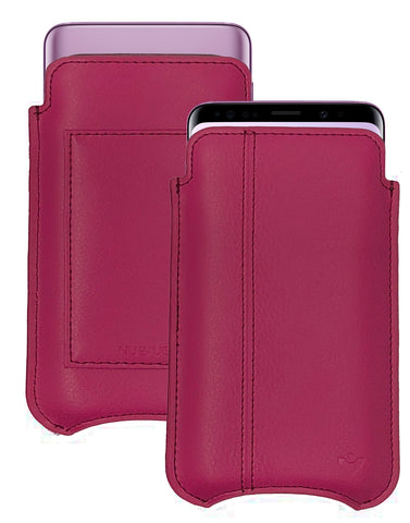 Samsung Galaxy S9+ | S8+ Wallet Case Samba Red Napa Leather NueVue Sanitizing and Screen Cleaning Case